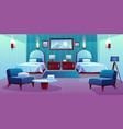 hotel double room cartoon interior vector image vector image