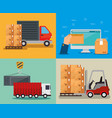 logistic services with computer vector image vector image
