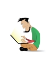 Man watching and working on computer laptop vector image