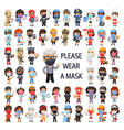 masked people different professions vector image