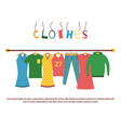 mens and womans clothes on hangers vector image