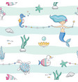 mermaid birthday seamless pattern background cute vector image