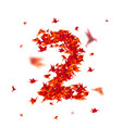 number 2 numbers with origami paper bird on vector image