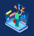 Online food store man buys food online isometric