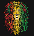 pen and inked rastafarian lion vector image