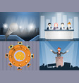 political meeting banner set cartoon style vector image vector image