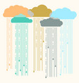 rain image with stylish flat clouds vector image vector image