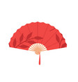 red chinese folding hand fan isolated on white vector image