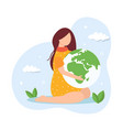 save planet concept young girl holding globe vector image vector image