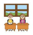 school children cartoon vector image vector image