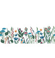 seamless floral border with hand drawn vector image