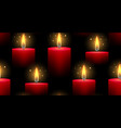 seamless pattern with red burning candles on a vector image vector image