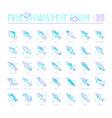 set blue line icons freshwater fish vector image