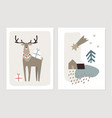 set christmas scandinavian greeting cards vector image