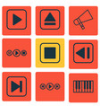 set of 9 audio icons includes audio buttons vector image vector image