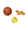 Set of basketball ball dumbbells and golden medal