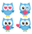 set of cute blue owls with hearts isolated vector image vector image