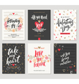set valentines day hand drawn greetings vector image vector image