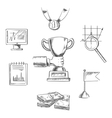 Sketch of business achievment and success symbols vector image