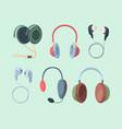 stylish headphones set modern studio rooms with vector image vector image