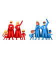 superhero family children and parents in heroes vector image