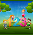 the children are learn number vector image
