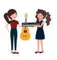 women with musical instruments character vector image vector image