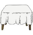 wooden table with white tablecloth vector image vector image