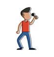 young man karaoke celebrating cartoon vector image vector image