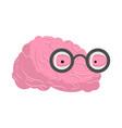 brain glasses genius of human brains egghead mind vector image