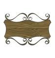 Shield shaped rusty metal signboard vector image