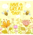 flowers and bees color vector image