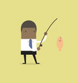 african businessman fishing a big fish vector image