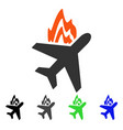 airplane fire flat icon vector image vector image