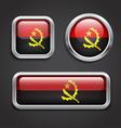 Angola flag glass buttons vector image