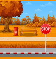 autumn park with roadside and bench vector image vector image