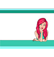 beautiful girl leaning on a parapet close-up vector image vector image
