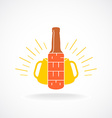 Beer logo template Bottle with vertical text vector image vector image