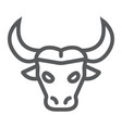 buffalo line icon animal and zoo cattle sign vector image vector image