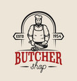 butcher shop design element for logo label emblem vector image vector image
