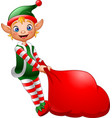 cartoon elf pulling a bag full of gifts vector image vector image