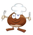 chestnut cartoon chef isolated on white mascot vector image vector image