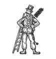 chimney sweep man vector image vector image