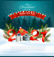 christmas holiday background with a 2021 and gift vector image