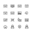 code programming icon set in thin line style vector image