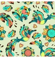 Colorful pattern with bird Phoenix and sunflower vector image vector image