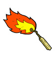 comic cartoon burning match vector image vector image