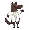 comic cartoon wolf businessman vector image vector image