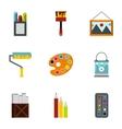 Creativity art icons set flat style vector image vector image