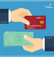 credit card and cash payment flat design icon vector image vector image